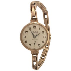 9 Carat Gold Ladies Swiss Made Wristwatch on a 9 Carat Gold London Made Strap
