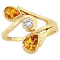 9 Carat Gold Light Orange Sapphire and Diamond Cocktail Ring
