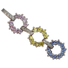 9 Carat Gold Pink Blue Yellow Sapphire and Diamond Pendant