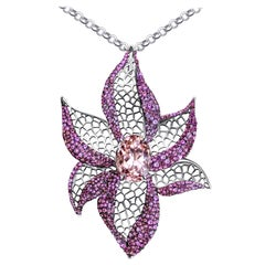 9 Carat Morganite Pink Sapphire 18 Karat White Gold Flower Pendant Necklace