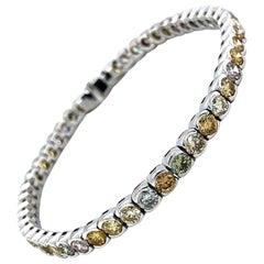 9 Carat Natural Fancy Color Diamonds Tennis Bracelet 18 Karat White Gold