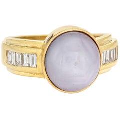 9 Carat Natural Star Sapphire Ring Six Point Diamond Vintage 18k Gold Blue Grey