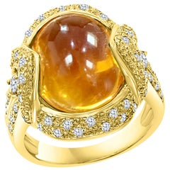 9 Carat Oval Citrine Cabochon and Diamond Ring in 18 Karat Yellow Gold, Estate