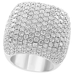 9 Carat Pave Diamonds VS Quality E Color  Cocktail 18 K White Gold Ring Estate