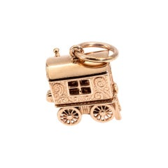 9 Carat Rose Gold Gypsy Carriage Vintage Charm or Pendant