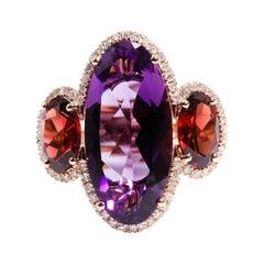 9 Carat Rose Gold Oval Amethyst Garnet and Diamond Vintage Ring
