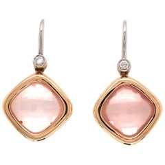 9 Carat Rose Quartz and Diamond Dangle Gold Earrings Estate Fine Jewelry