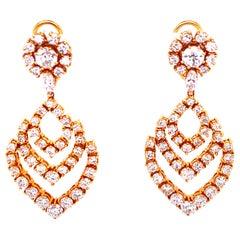9 Carat Round Brilliant Cut Diamond Drop 18 Karat Yellow Gold Dangle Earrings