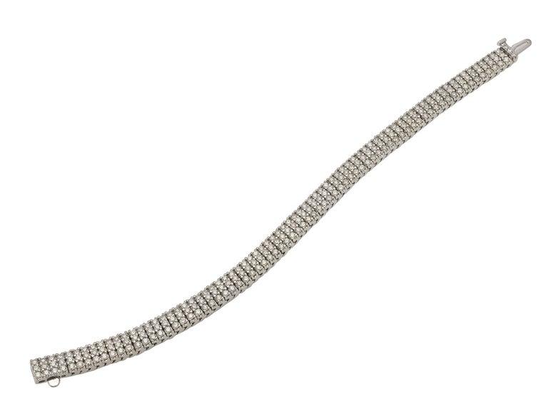 Contemporary 9 Carat Three-Row Diamond Bracelet For Sale