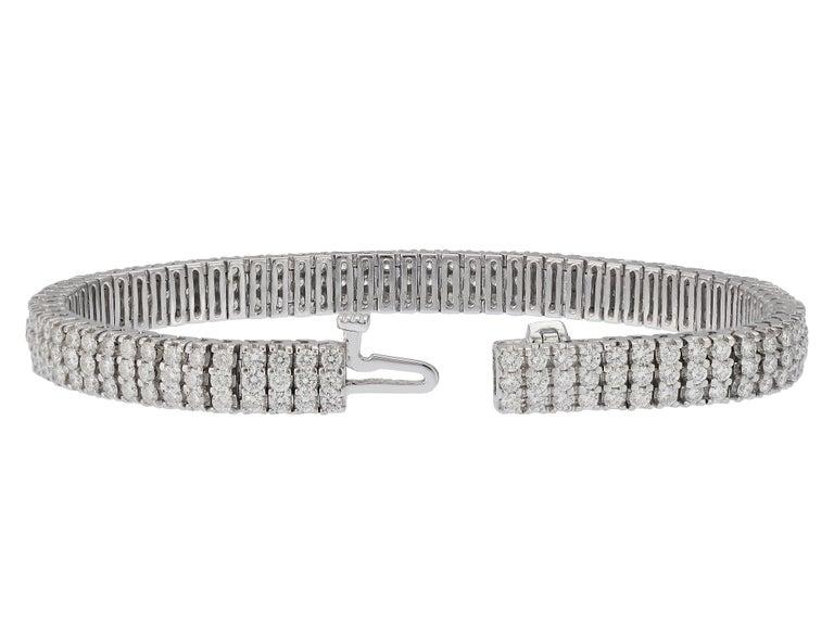 Round Cut 9 Carat Three-Row Diamond Bracelet For Sale