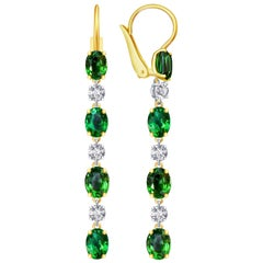 9 Carat Vivid Green Tsavorite Diamond 18 Karat White Gold Earrings
