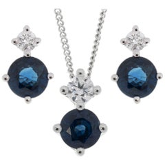 9 Carat White Gold 0.90 Carat Sapphire and Diamond Pendant and Earrings Set