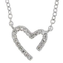 9 Carat White Gold Diamond Heart Necklace