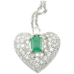 9 Carat White Gold Emerald and Multi Diamond Pendant