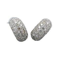 9 Carat White Gold Pave Set Diamond Huggie Earrings