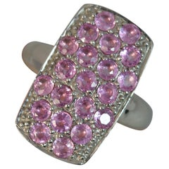 9 Carat White Gold Pink Sapphire Diamond Panel Cluster Ring