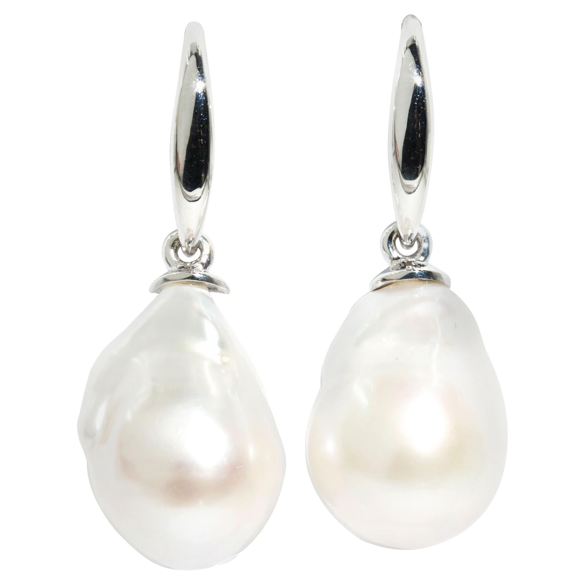 9 Carat White Gold White Baroque Freshwater Pearl Vintage Drop Style Earrings