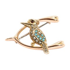 9 Carat Yellow and Rose Gold Turquoise and Pearl Kookaburra Victorian Brooch