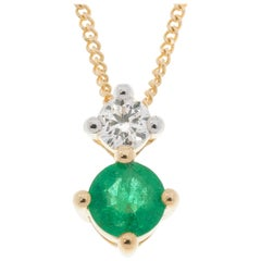 9 Carat Yellow Gold 0.15 Carat Emerald and Diamond Pendant