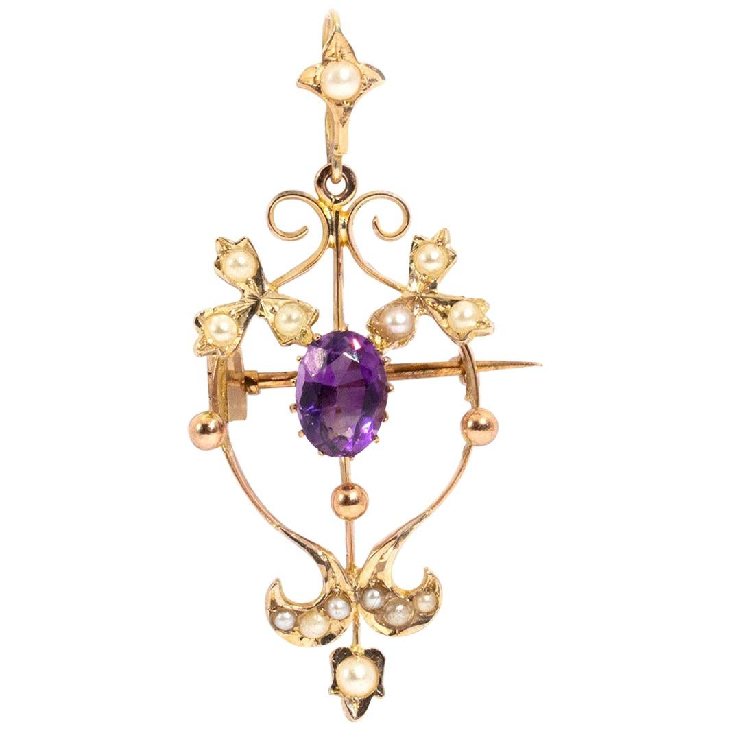 9 Carat Yellow Gold Amethyst and Pearl Antique Victorian Brooch and Pendant