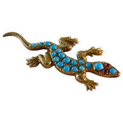 9 Carat Yellow Gold Antique Turquoise and Ruby Lizard Brooch
