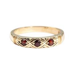 9 Carat Yellow Gold Round Red Garnet Vintage Band Ring