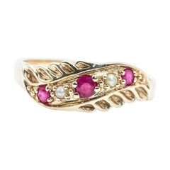 9 Carat Yellow Gold Round Red Ruby and Pearl Vintage Flat Band Ring