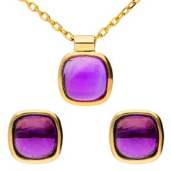 9 Carat Yellow Gold Rub-Over Amethyst Earrings and Pendant Set