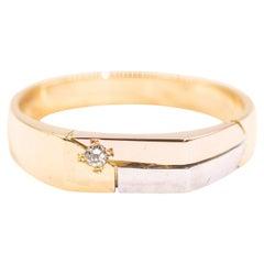 18 Carat Yellow Rose White Gold Three Color Men's Diamond Vintage Signet Ring