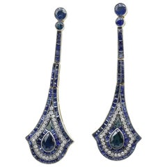 9 Carat Yellow/White Gold and Sterling Silver Sapphire and Diamond Earrings