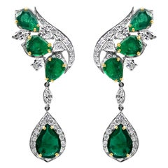 9 Carat Natural Deep Green Emerald and Diamond Leaf Earrings 18 Karat White Gold