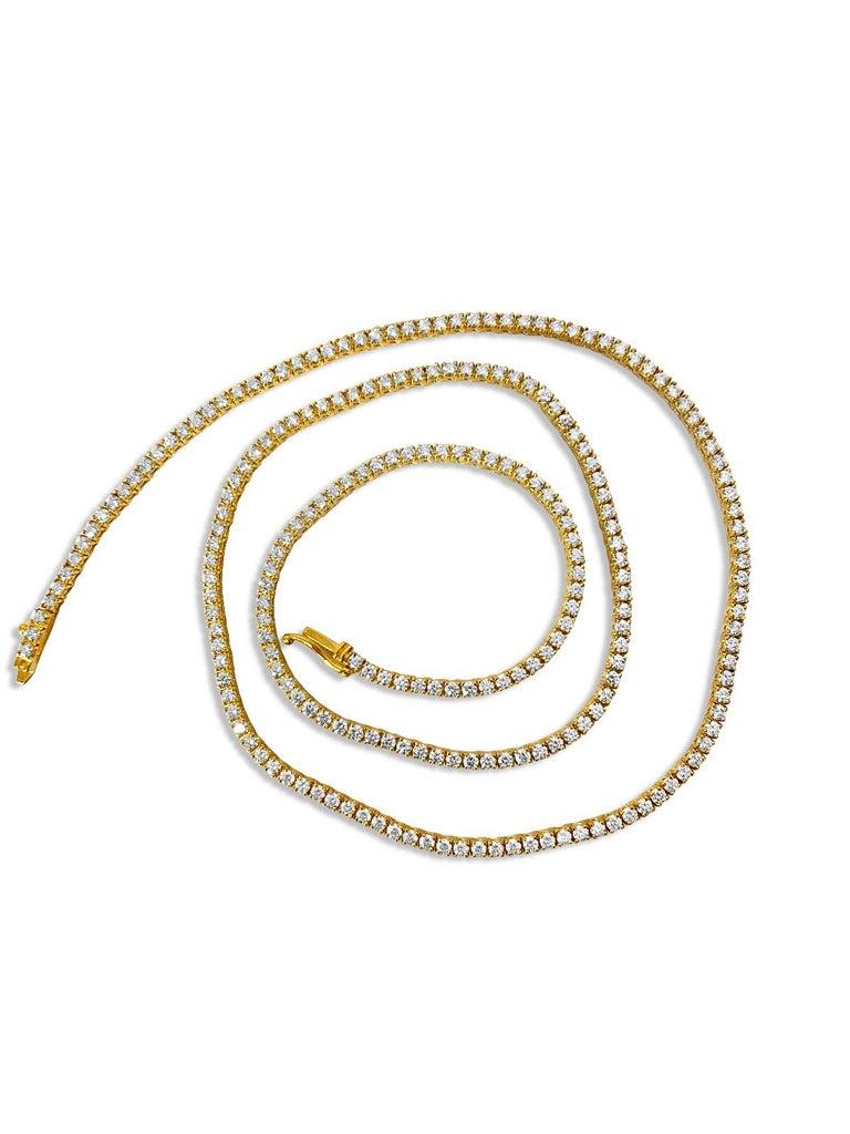 9 Carats VVS Diamond Tennis Necklace In New Condition For Sale In Miami, FL