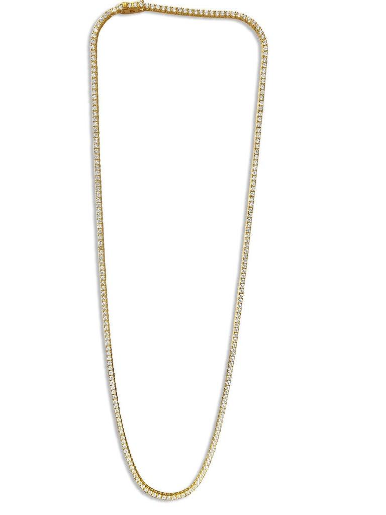 Women's or Men's 9 Carats VVS Diamond Tennis Necklace For Sale