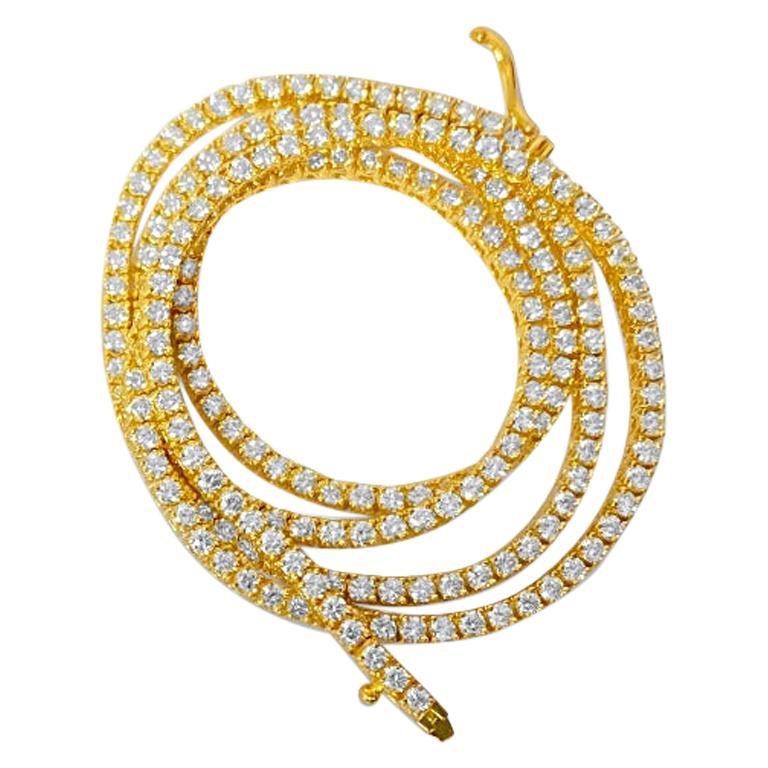 9 Carats VVS Diamond Tennis Necklace For Sale