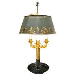 19th Century French Empire Bouillotte Tole Shaded Lamp