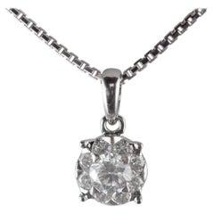 9 Diamond Round Pendant White 18 Carat Gold Handmade Cocktail Intini Necklace