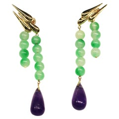9 Karat British Yellow Gold Earrings Set with Jade and Amethyst
