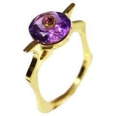 9 Karat British Yellow Gold Set with Amethyst and Ruby Cocktail Ring
