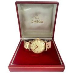 9 Karat Gold and Rolled Gold Bracelet 1960s Omega Mechanical Watch