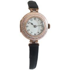 9 Karat Gold and White Enamel Bessel Antique Mechanical Ladies Trench Watch