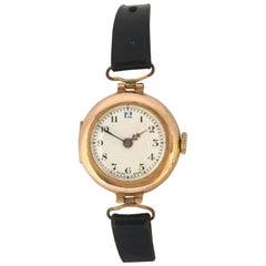 9 Karat Gold Antique Ladies Mechanical Trench Watch