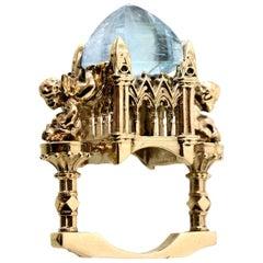 9 Karat Gold, Aquamarine Everlasting Revenant Cathedral Ring