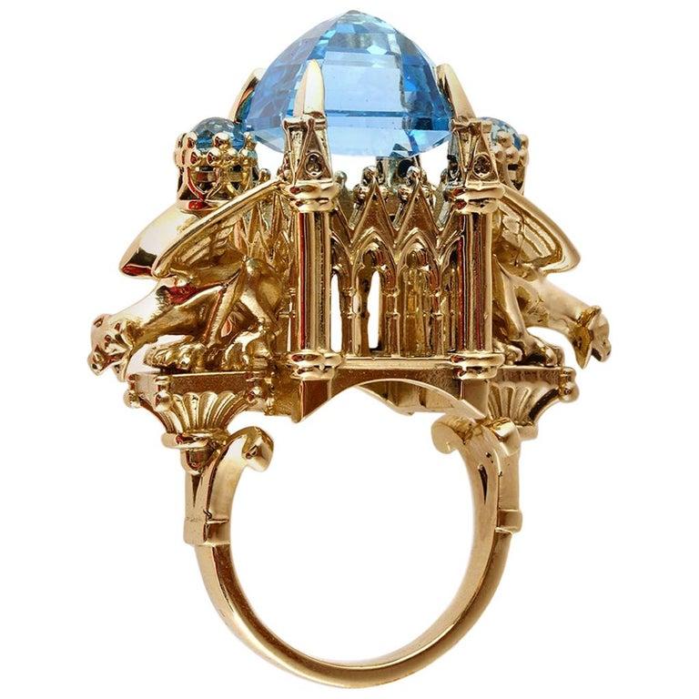 William Llewellyn Griffiths 9 Karat Gold, Blue Topaz Alchemist Cathedral Ring For Sale