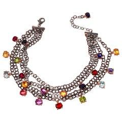 Ugolini Gold Burnished Hammered Silver Sterling Amethyst Garnet Chocker Necklace