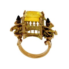 William Llewellyn Griffiths 9 Karat Gold Citrine Euphoric Triumph Cathedral Ring