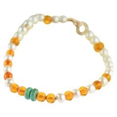 9 Karat Gold Freshwater Pearls Baltic Amber Rondelle Turquoise Beaded Bracelet