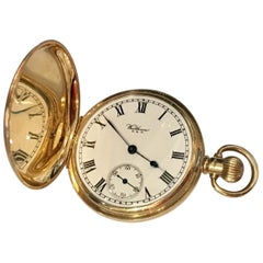 9 Karat Gold Full Hunter Cased Pocket Watch Signed A.W.W. Co. Waltham Mass U.S.A