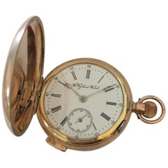 9 Karat Gold Full Hunter Quarter Repeater Pocket Watch Signed the Vigilant Watch