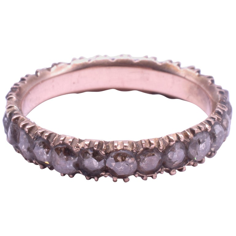 Rose Diamond Eternity Band Ring, circa 1855 For Sale
