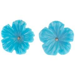 9 Karat Gold Turquoise Flower Handmade Italian Girl Carved Stud Earrings
